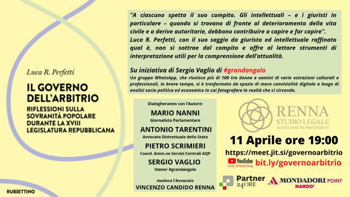 Il Governo dell'Arbitrio - evento online 11 aprile